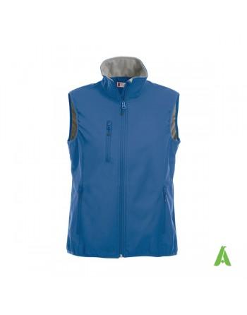 Chaleco de softshell unisex color azul real con bordardo personalizado para empresas, deporte y promocional.