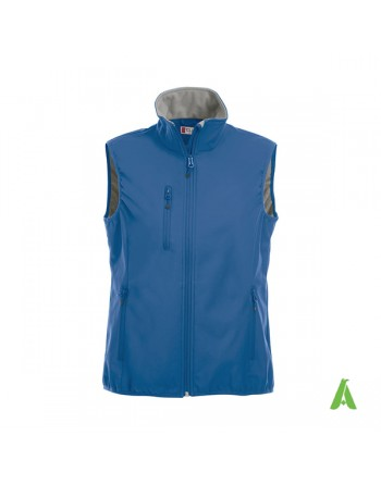 Royal blue softshell vest unisex, with emboidered logo for companies, promototions and sport.