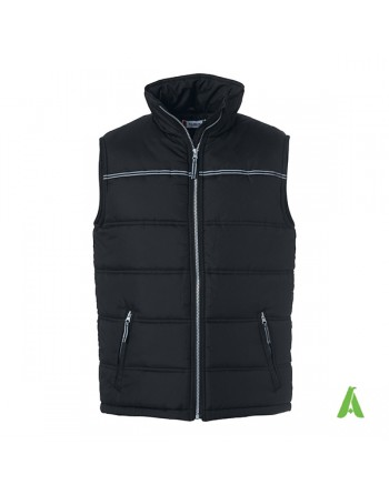 Reflective padded vest color black with reflective piping, with bespoke embroidery for corporates, work and promotions.