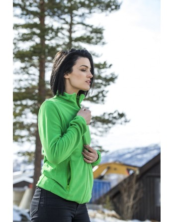 Green Micropile jacket for lady with custom embroidery for companies, promotional and sport.