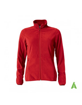Red Micropile jacket for lady with custom embroidery for companies, promotional and sport.