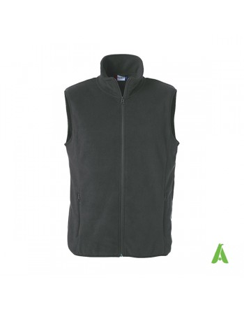 Dark grey unisex vest in antipilling fleece with brushed interior and embroidery for businesses and sports.