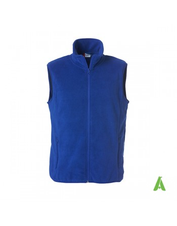 Marine blue unisex vest in antipilling fleece with brushed interior and embroidery for businesses and sports.
