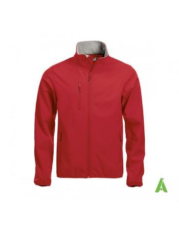 Veste softshell pour homme couleur rouge avec broderies personnalisées pour les entreprises, sportives et promotionnelles.