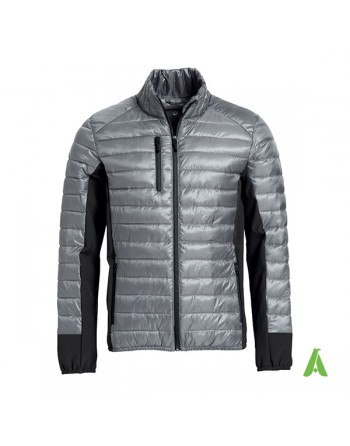 Light down jacket for men, gray color, pockets for earphones and customizable with embroidery or stitched patch.