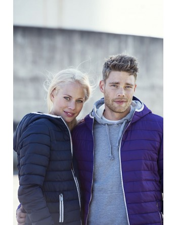 Unisex hooded down jacket in purple with contrasting profiles and custom embroidery for companies, promotional, sport.