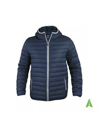 Doudoune unisexe à capuche en bleue avec profils contrastés et broderies pour entreprises, promotion, sport.
