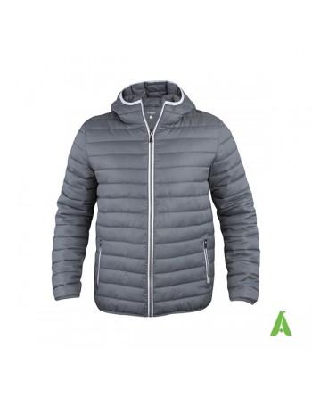 Doudoune unisexe à capuche en gris avec profils contrastés et broderies pour entreprises, promotion, sport.