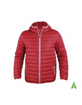 Doudoune unisexe à capuche en rouge avec profils contrastés et broderies pour entreprises, promotion, sport.