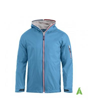 Chaqueta náutico hombre azul, cortaviento, cremallera completa y capucha, impermeable repelente, personalizado bordado.