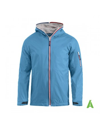 Nautic water repellent jacket for man, light blue color, bespoke embroidery, for sea, sport, companies.