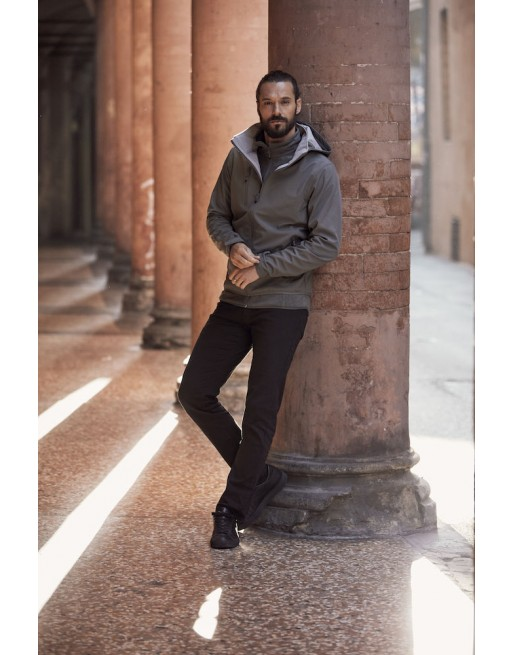 Dark grey hooded softshell jacket for men with triple layer fabric, custom embroidery for companies, sports and promotional.