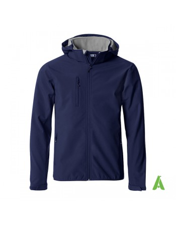 Blue hooded softshell jacket for men with triple layer fabric, custom embroidery for companies, sports and promotional.