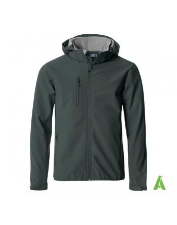 Melange grau Softshelljacke für Männer mit kapuze, individuell gestickter Stickerei für Unternehmen, Sport und Promotion.