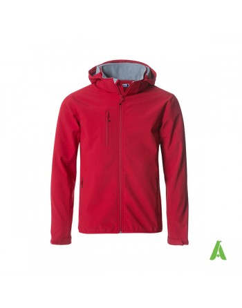 Red hooded softshell jacket for men with triple layer fabric, custom embroidery for companies, sports and promotional.