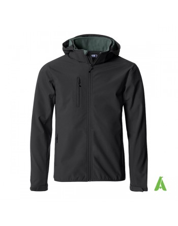 Black hooded softshell jacket for men with triple layer fabric, custom embroidery for companies, sports and promotional.