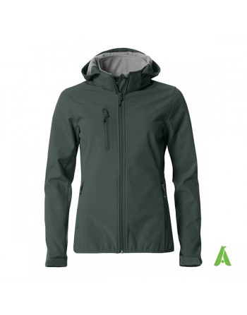 Dark grey hooded softshell jacket for woman with triple layer fabric, custom embroidery for companies, sports and promotional.