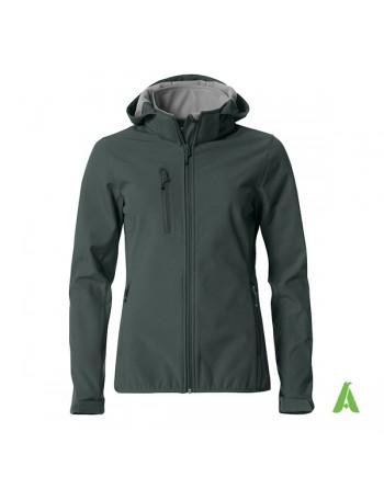 Melange grau Softshelljacke mit kapuze für Damen, individuell gestickter Stickerei für Unternehmen, Sport und Promotion.