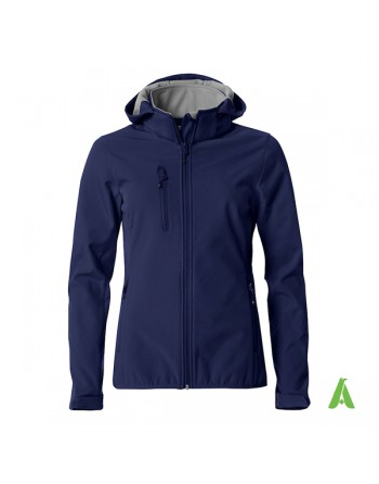 Blue hooded softshell jacket for woman with triple layer fabric, custom embroidery for companies, sports and promotional.