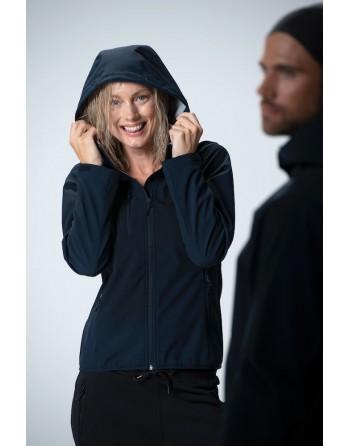 Giacca softshell da donna con cappuccio, tessuto triplo strato, ricamo personalizzato per aziende, sport e promozionale.