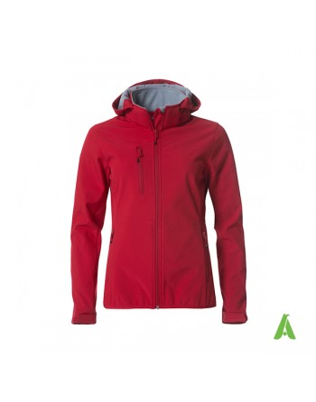 Red hooded softshell jacket for woman with triple layer fabric, custom embroidery for companies, sports and promotional.