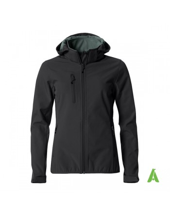 Black hooded softshell jacket for lady with triple layer fabric, custom embroidery for companies, sports and promotional.