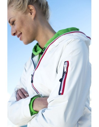 Nautic water repellent and windproof  jacket for lady, white, bespoke embroidery for sea, sport and companies.