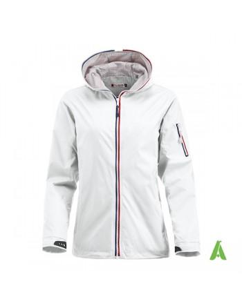 Damen Weiße Farbe Jacke im nautischen Stil, wind- und wasserabweisend mit individueller Stickerei, für Meer und Sport.