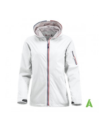 Nautic water repellent and windproof  jacket, white for lady, bespoke embroidery for sea, sport and companies.