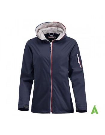 Damen Dunkelblaue Farbe Jacke im nautischen Stil, wind- und wasserabweisend mit individueller Stickerei, für Meer und Sport.