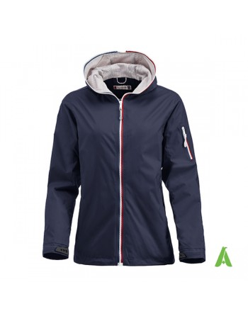 Nautic water repellent jacket for woman, navy blue color, bespoke embroidery, for sea, sport, companies.