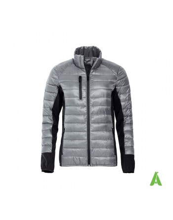 Woman light down jacket grey color, with bespoke embroidery for enterprises, promotions, sport.