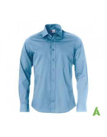 Chemise homme, coupe normale, couleur bleue clair, Twill 100% coton, avec broderie pour entreprises, réunions, salons.