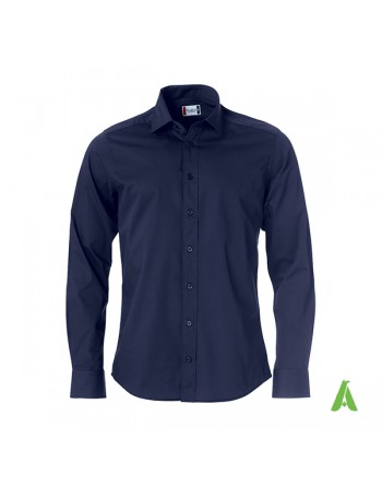 Man regular fit navy blue color shirt, Twill 100% cotton with custom embroidery for companies, meetings and fairs.