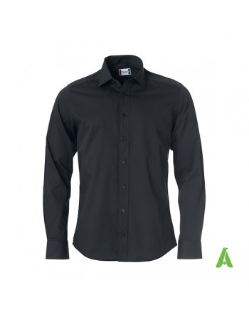 Man regular fit black color shirt, Twill 100% cotton with custom embroidery for companies, meetings and fairs.
