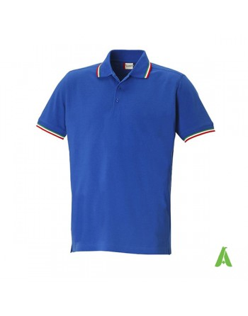 Royal blue polo shirt with green-white-red Italian tricolor profiles, customizable with embroidery for companies.