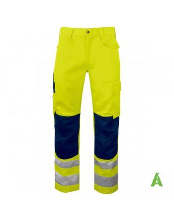 Pantalone rifrangente per lavori notturni con para ginocchi colore blu, bande rifrangenti e tessuto alta visibilita' classe 2.
