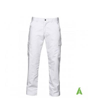 Pantalone professionale da lavoro colore bianco, tasche laterali, ricamo personalizzato per aziende.