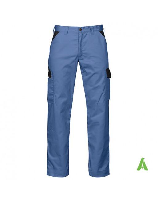 Pantalone professionale da lavoro colore turchese con profili neri, tasche laterali, ricamo personalizzato per aziende.