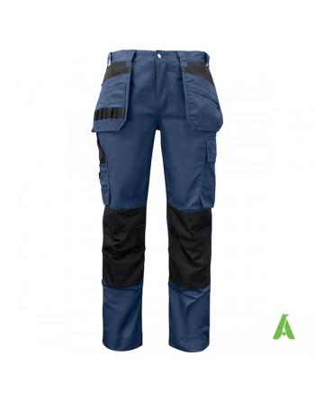 Pantalone professionale da lavoro, blu con tasche flottanti porta utensili, para ginocchia e ricamo aziendale personalizzato.