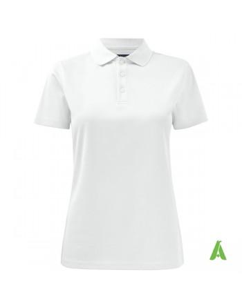 Polo da lavoro per donna, colore bianco con tessuto tecnico e ricamo logo aziendale personalizzato.