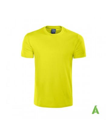 Tshirt alta visibilita' gialla fluo, struttura tubolare, colletto rinforzato,  vestibilità slim-fit, con ricamo aziendale.