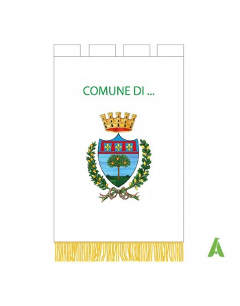 Gonfalone Comunale ricamato, con scritta del Comune, stemma centrale, alloro, corona, e confezionato con agremani.
