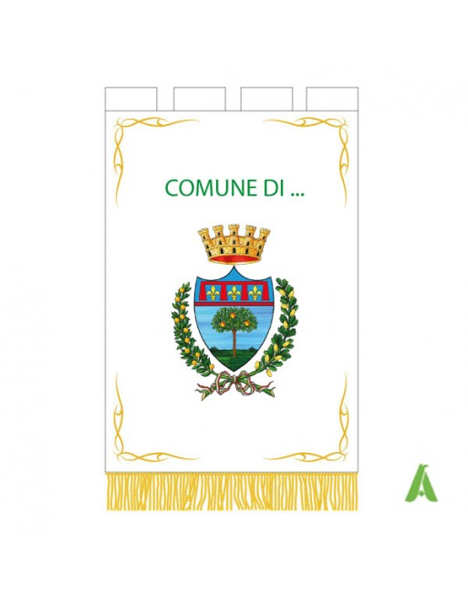 Istitutional embroidered gonfalon for municipalities & conferences with laurel, emblem and crown.
