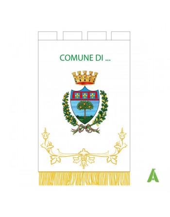 Gonfalone Comunale personalizzato con ricamo, alloro, passamanerie, frange oro/argento, e stemma del Comune.