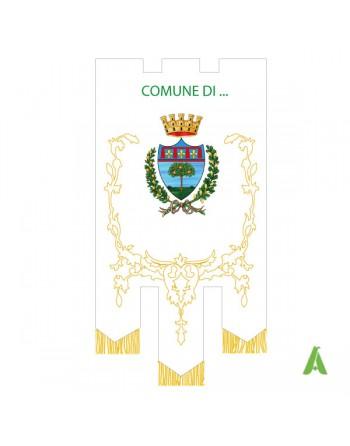 Stadtfahne mit kompletten Dekorationen mit mit goldenen Fransen und Verzierungen, gestickter Krone und Lorbeerblättern