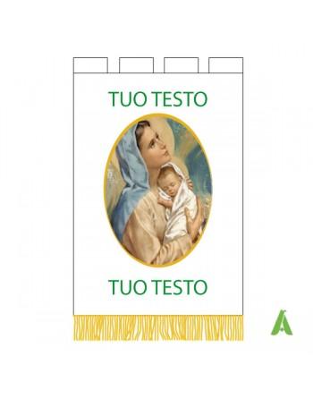 Bannière religieuse imprimée et brodé avec ecrits et image du saints.