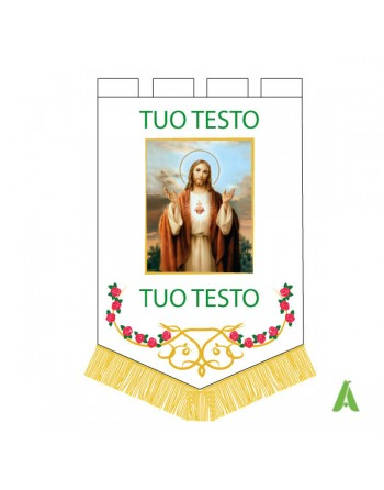 Religious - liturgical banner for catholics groups with embroidered flowers and printed sacred picture.