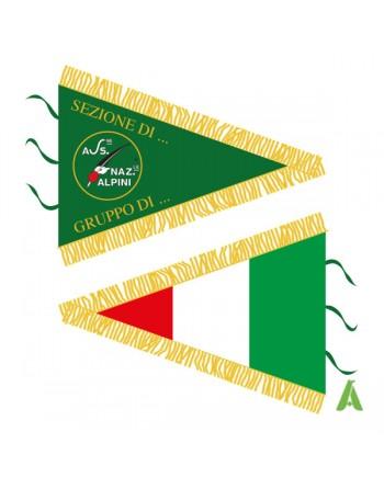 Bannière militaire triangulaire brodèe avec drapeau personnalisé à l'arrière, 3 lacets pour baguette, franges dorées.