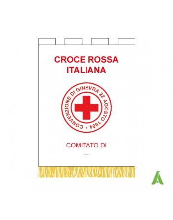 Estandarte internacional Cruz Roja con Letras y logotipo bordado rojo. Embalaje y flecos: oro